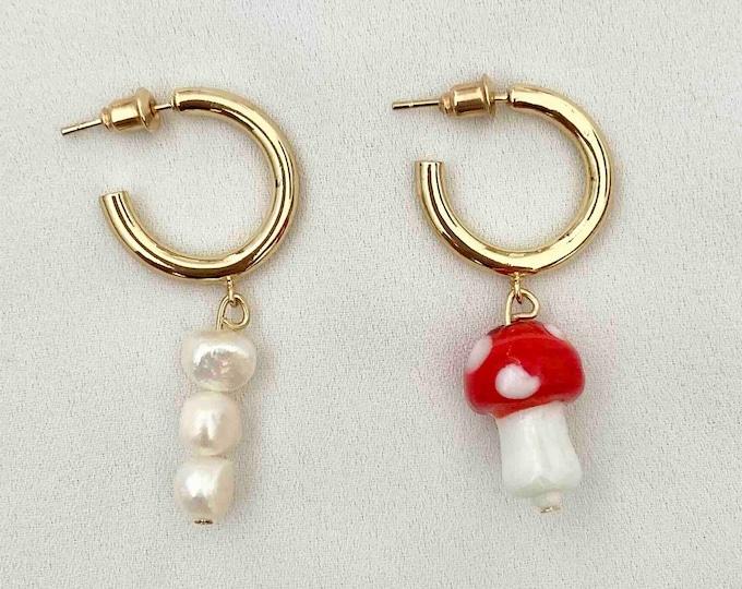 Toadstool pearl gold hoops