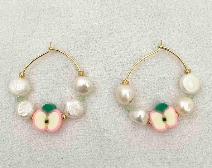 Apple pearl gold hoops