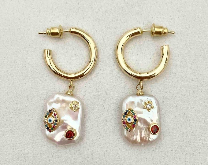 Large detailed pearl gold hoops