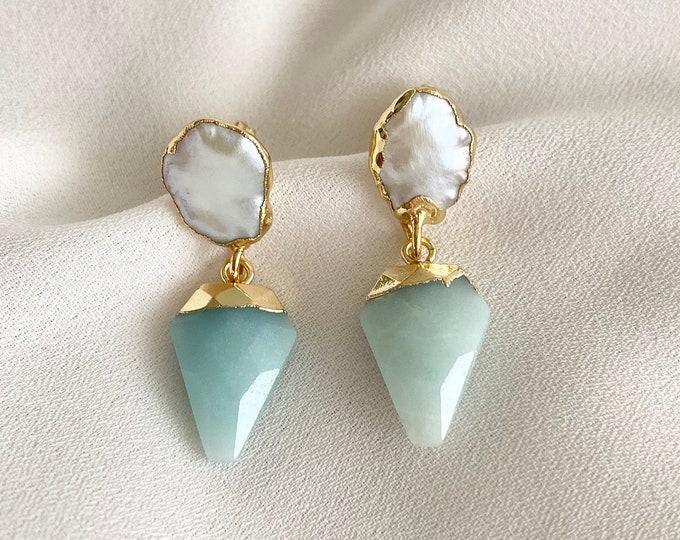 Aqua Onyx crystal pearl earrings