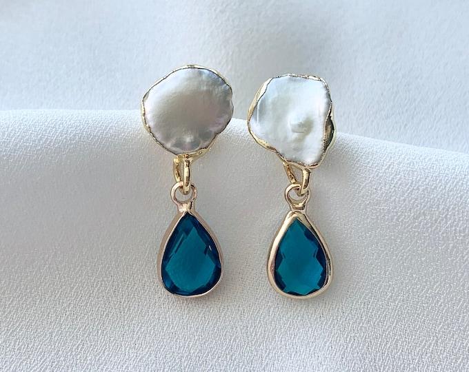 Large pearl blue glass drop earrings