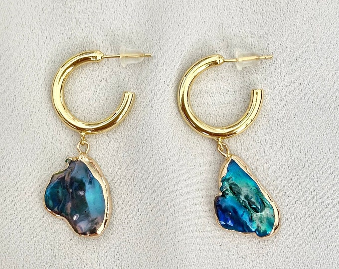 Unique Peacock pearl gold hoops