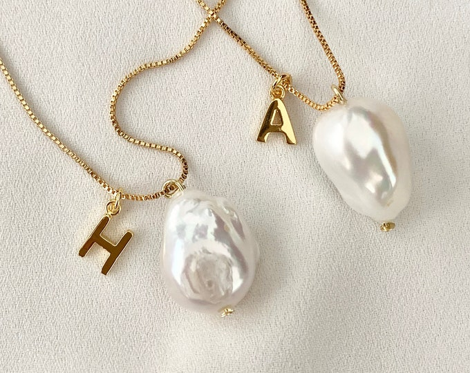 Custom letter Baroque pearl necklace