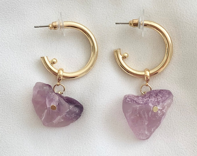 Raw Amethyst crystal gold hoops