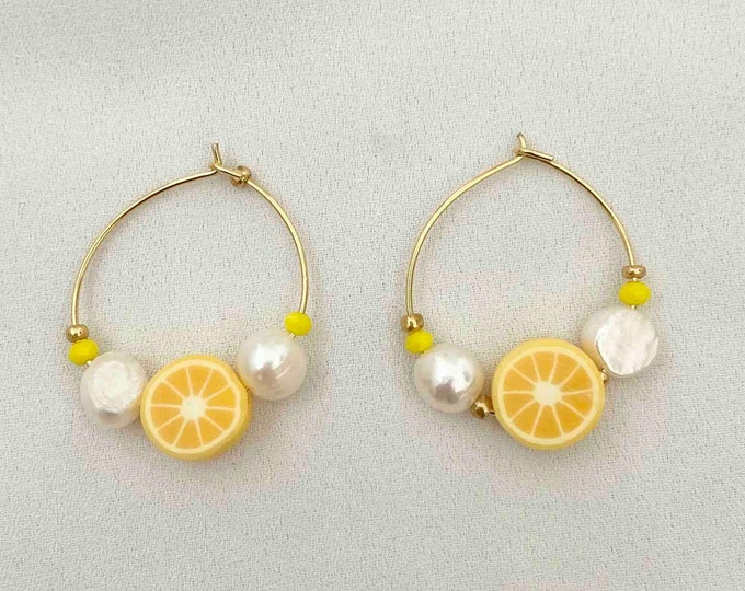 Yellow citrus pearl gold hoops