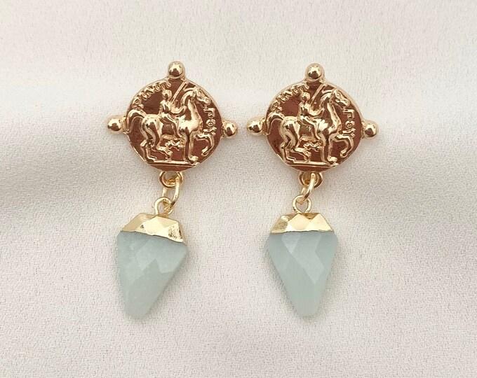 Aqua Onyx 18 k gold coin stud earrings