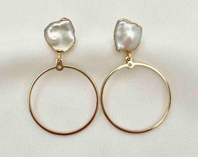 Raw pearl stud gold circle earrings