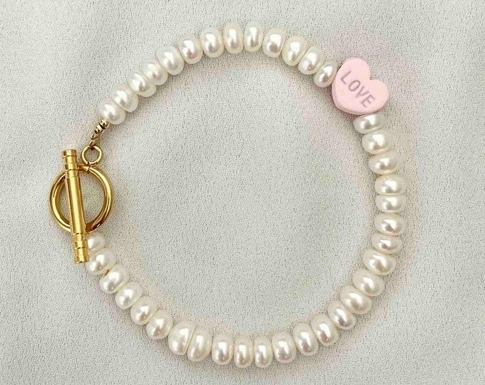 Freshwater pearl love light pink heart bracelet