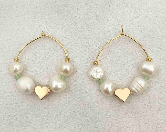 Gold heart pearl gold hoops