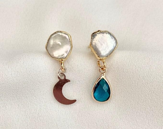Raw pearl moon blue glass drop earrings