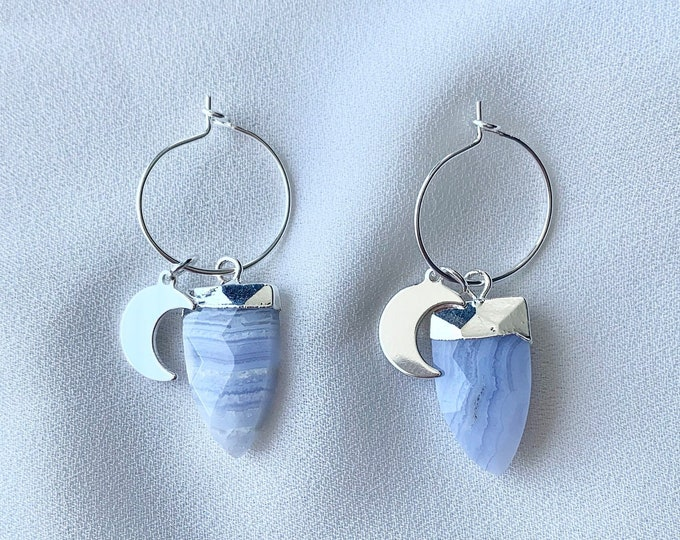 Silver hoops with Blue Lace Agate