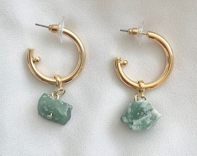 Raw Fluorite crystal gold hoops