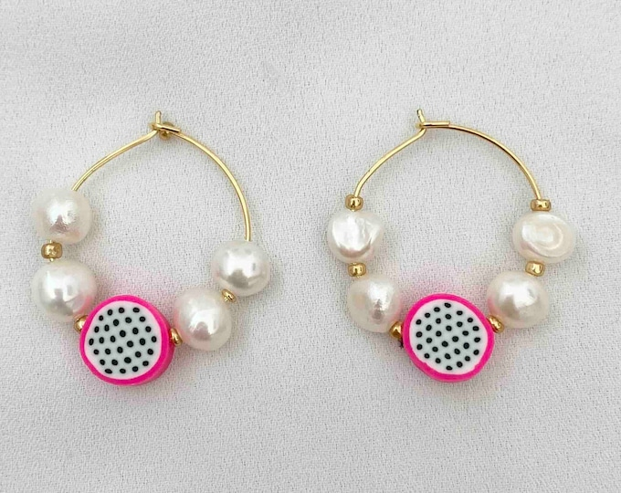 Dragonfruit pearl gold hoops