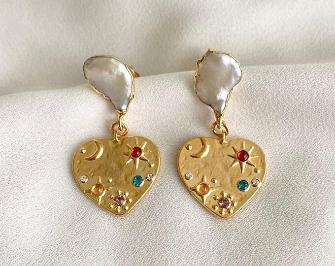 Gold heart medallion pearl earrings