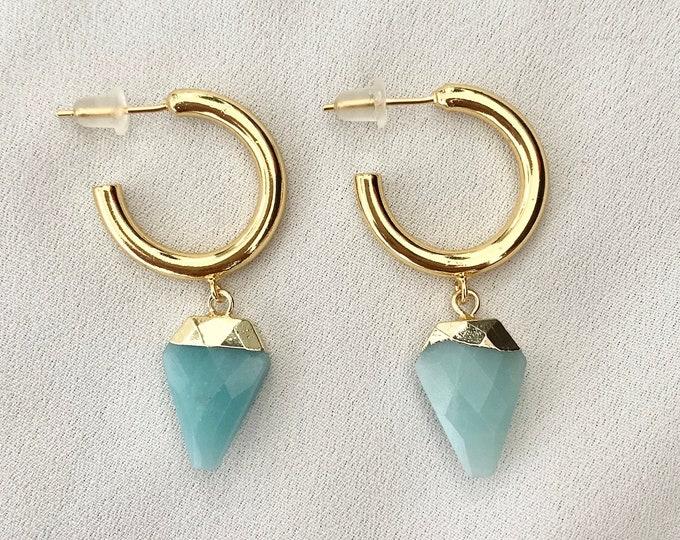 Blue green Onyx crystal gold hoops