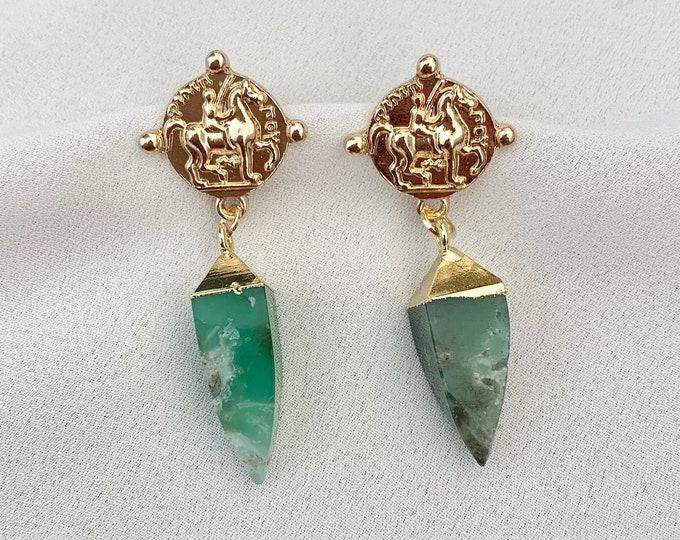 Green raw crystal gold medallion earrings