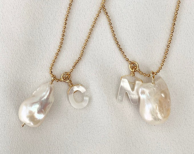 Custom shell letter Baroque pearl necklace