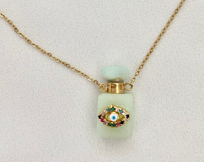 Small fluorite crystal stone perfume oil bottle necklace