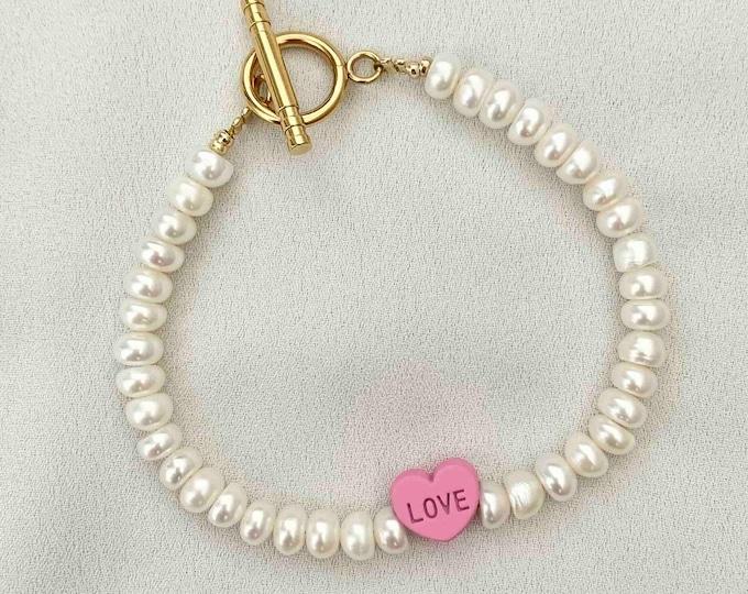 Freshwater pearl love pink heart bracelet