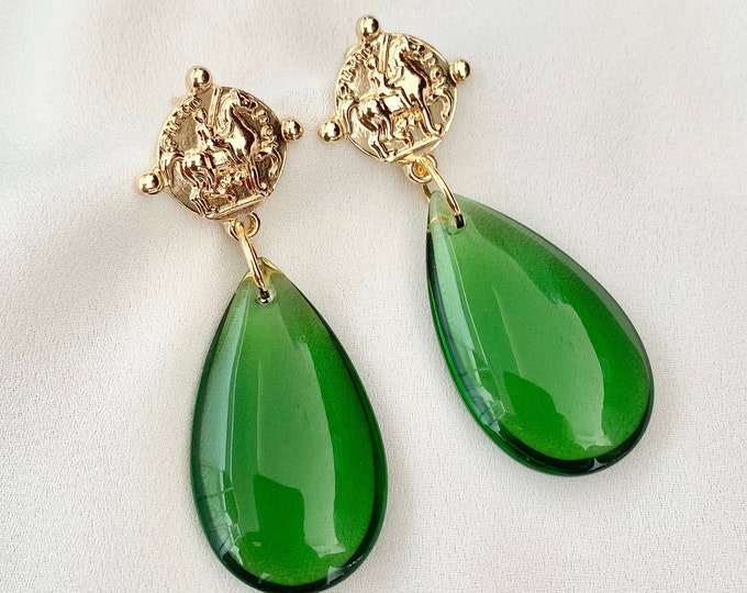 Green glass crystal drop gold coin earrings