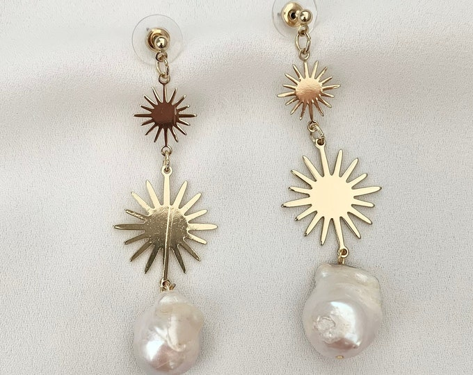 Large Baroque pearl sun drop gold earrings