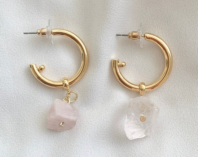 Raw Rose Quartz crystal gold hoops