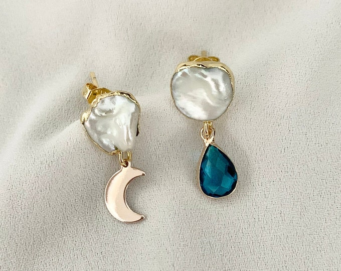 Blue glass moon pearl stud drop earrings