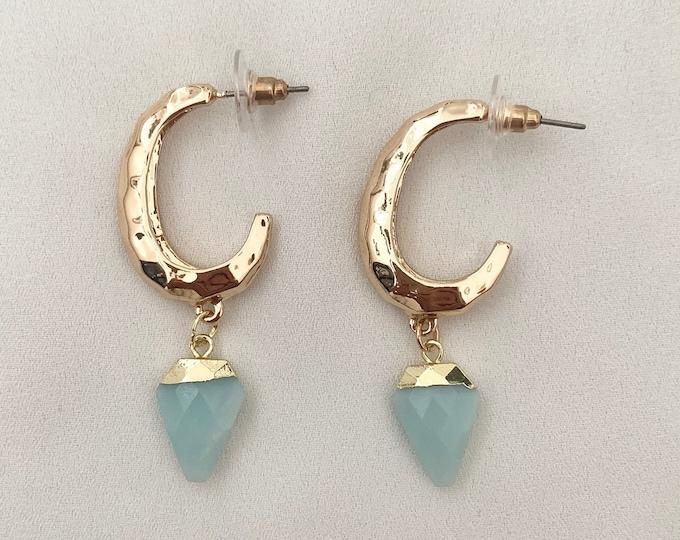 Aqua Onyx large gold hoop earrings