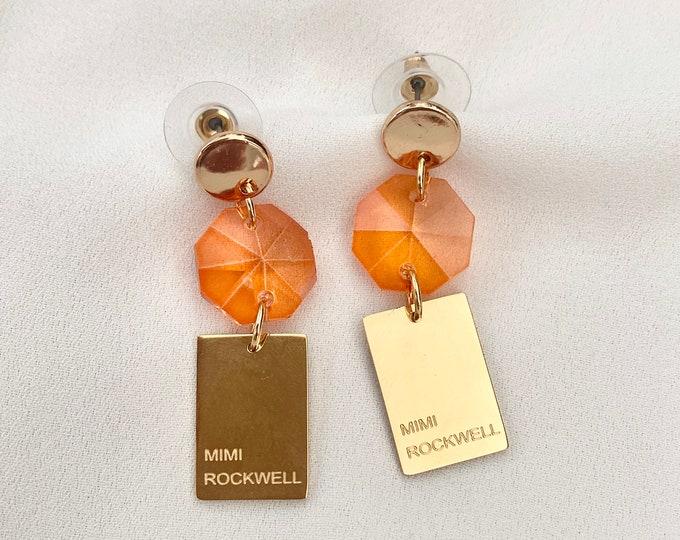 Orange glass crystal gold earrings