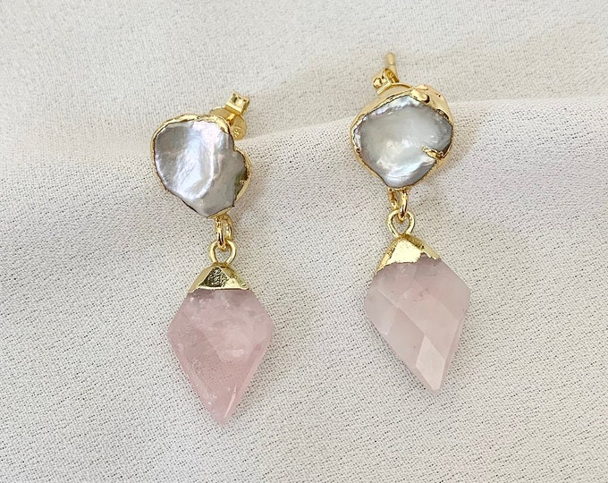 Rose Quartz crystal pearl earrings