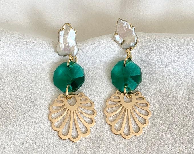 Pearl aqua glass crystal drop earrings