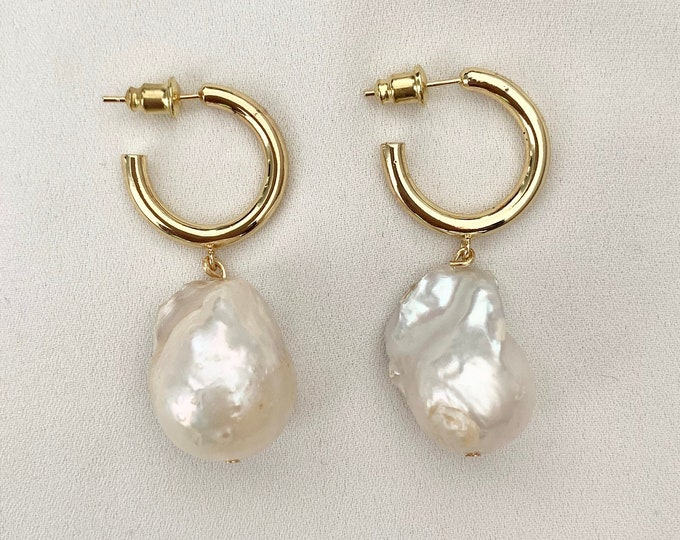Large raw Baroque pearl gold hoops