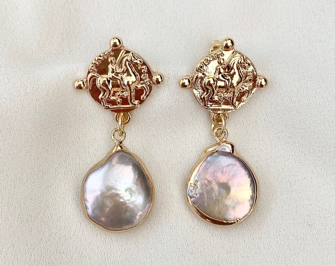 Pink purple baroque pearl gold coin earrings