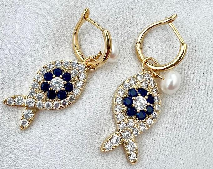 Fish gold hoop earrings