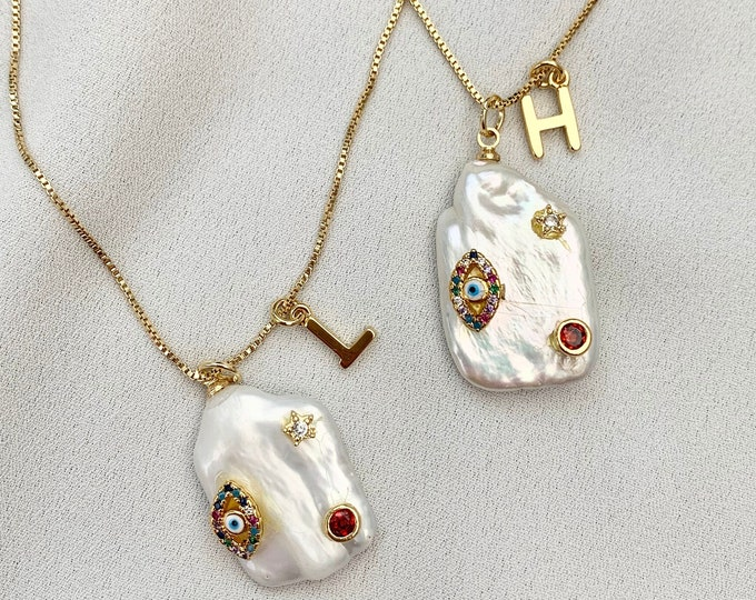Custom gold letter detailed Baroque pearl necklace