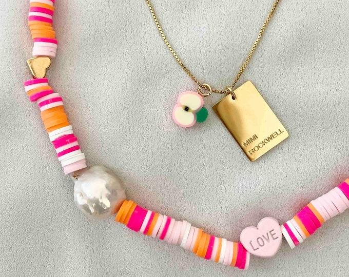 Baroque pearl pink red orange bead necklace set