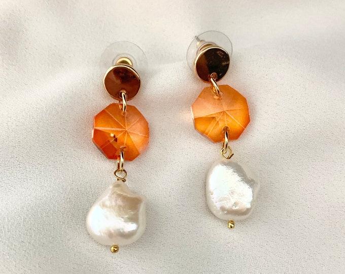 Orange glass crystal pearl earrings