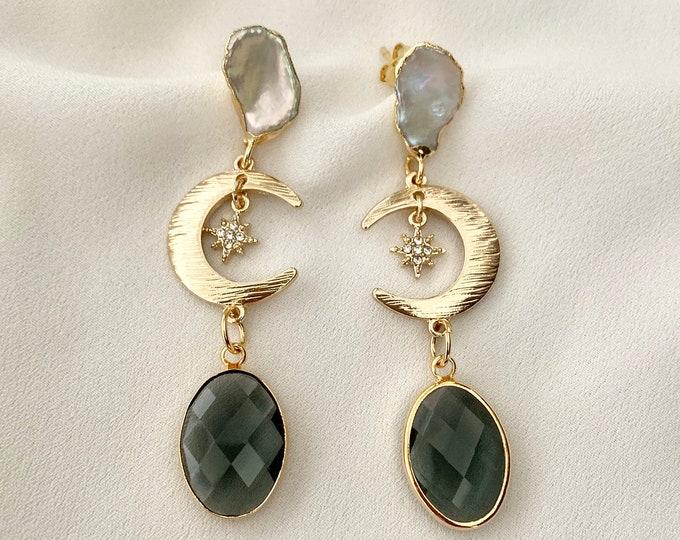 Celestial glass crystal pearl stud earrings