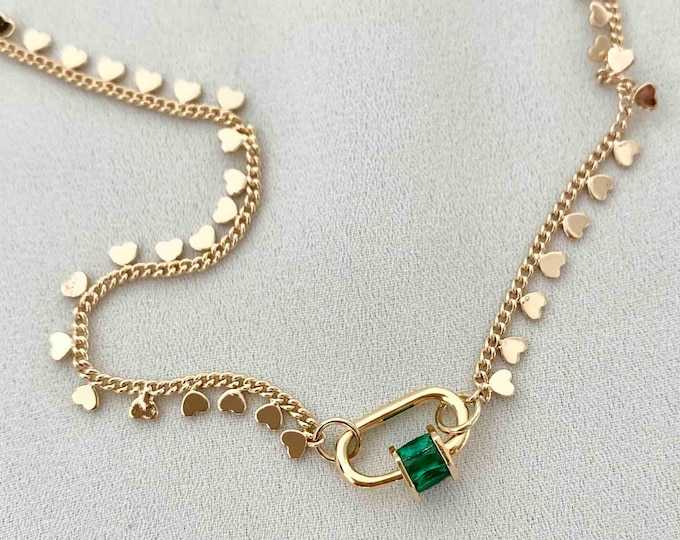 Short 18k gold plated heart chain necklace