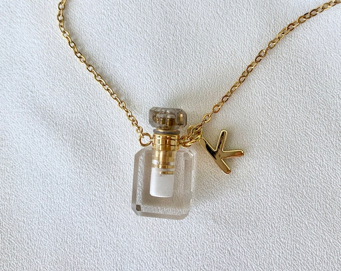 Tiny gemstone Quartz perfume oil bottle necklace