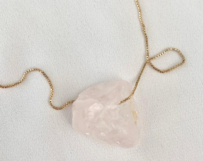 Raw Rose Quartz crystal rock gold necklace