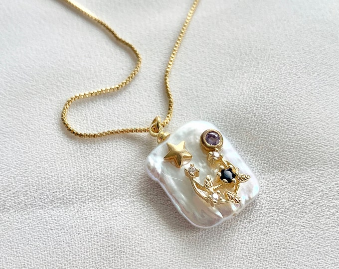 14 k gold plated detailed pearl necklace
