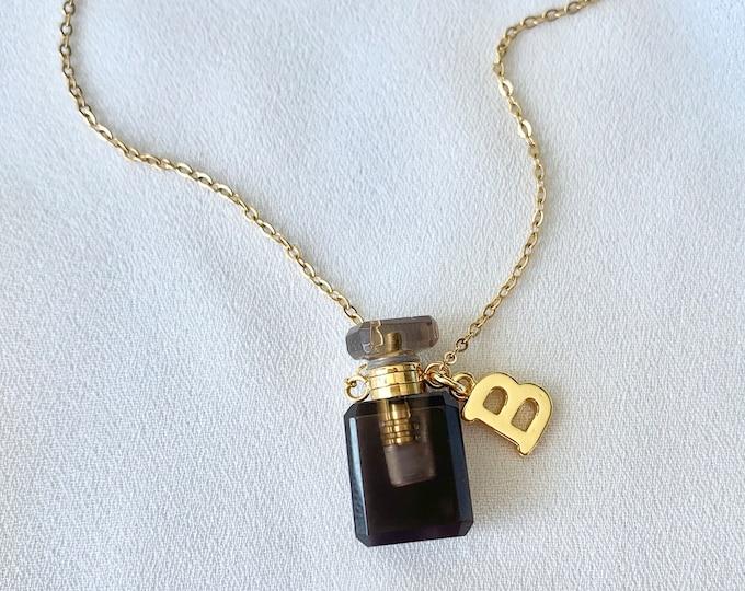 Tiny gemstone Smoky Quartz perfume oil bottle necklace