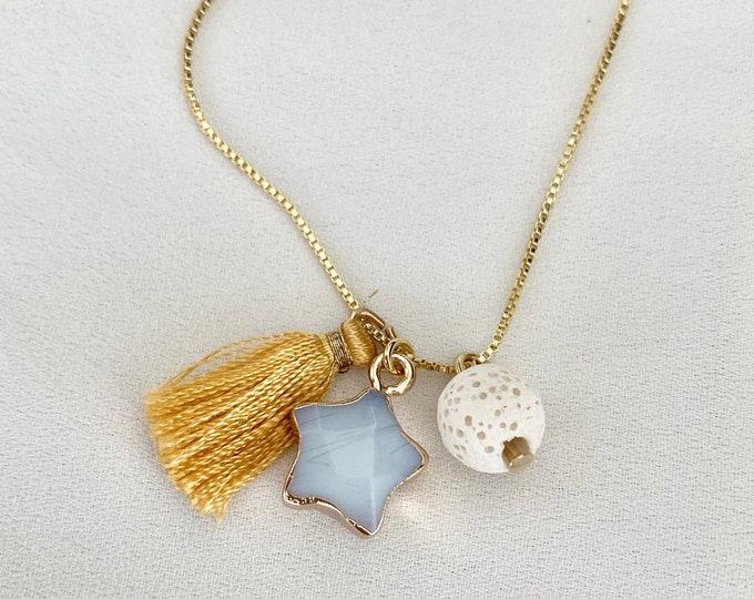 Aromatherapy lava star tassel necklace