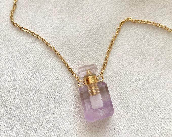 Tiny gemstone Amthyst perfume oil bottle necklace