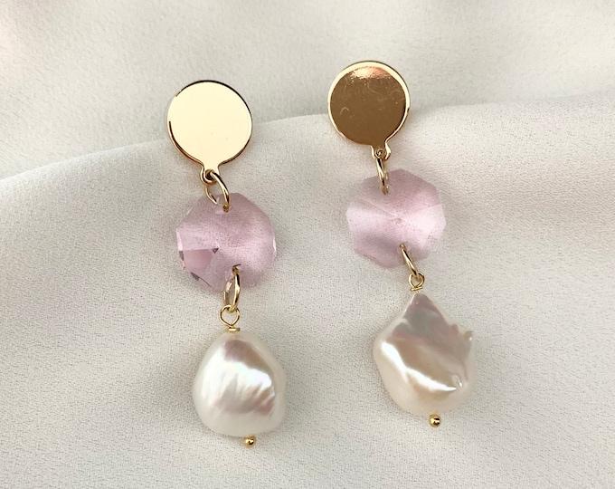 Pale pink glass crystal pearl pendant earrings