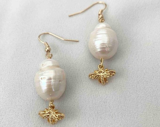 Baroque gold bee drop earrings