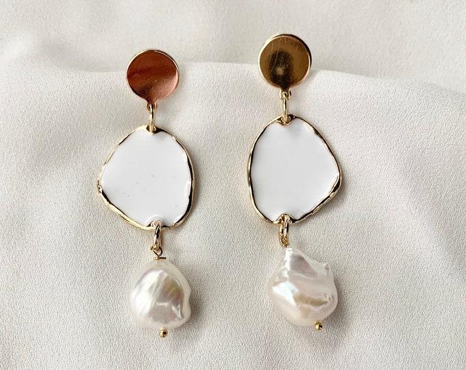 Baroque pearl white gold stud earrings