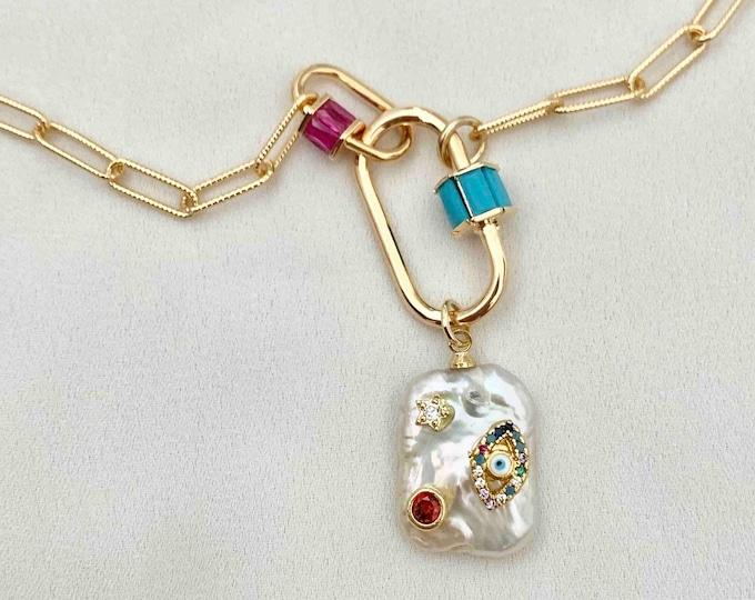 Baroque pearl clasp lock necklace