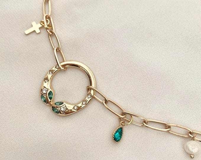 Large chain snake cross necklace